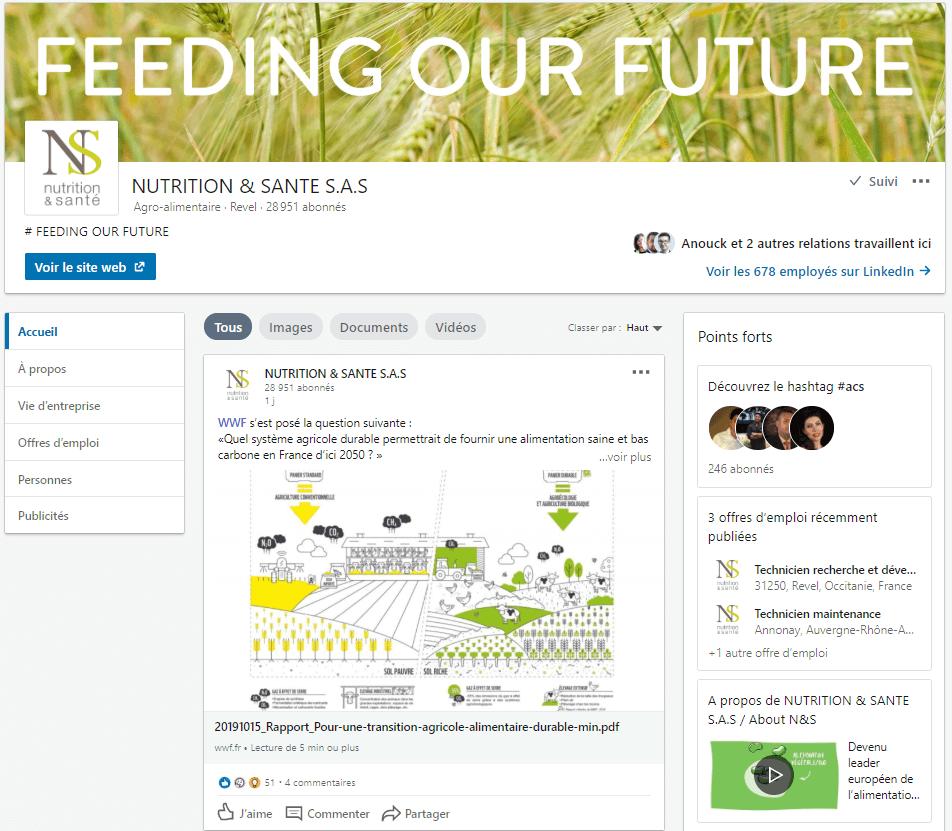 Page LinkedIn de Nutrition&Santé